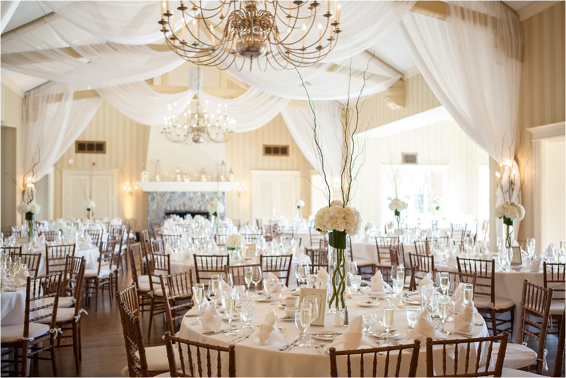 Reading PA Berkshire Country Club Wedding Photos Of Reception All Covered In White Linen Decor