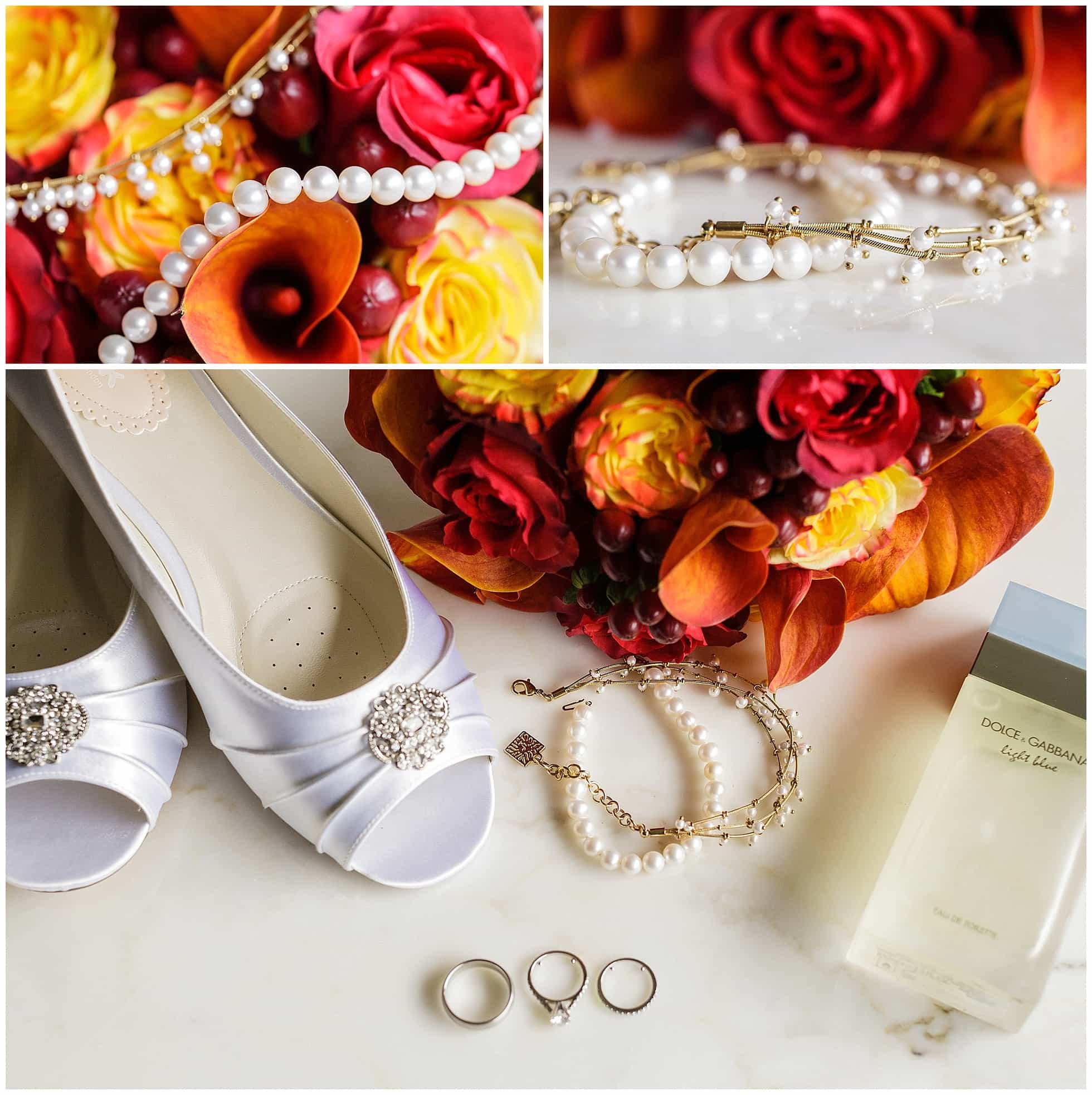 Pearls Anklet Bouquet Wedding Shoes Perfume