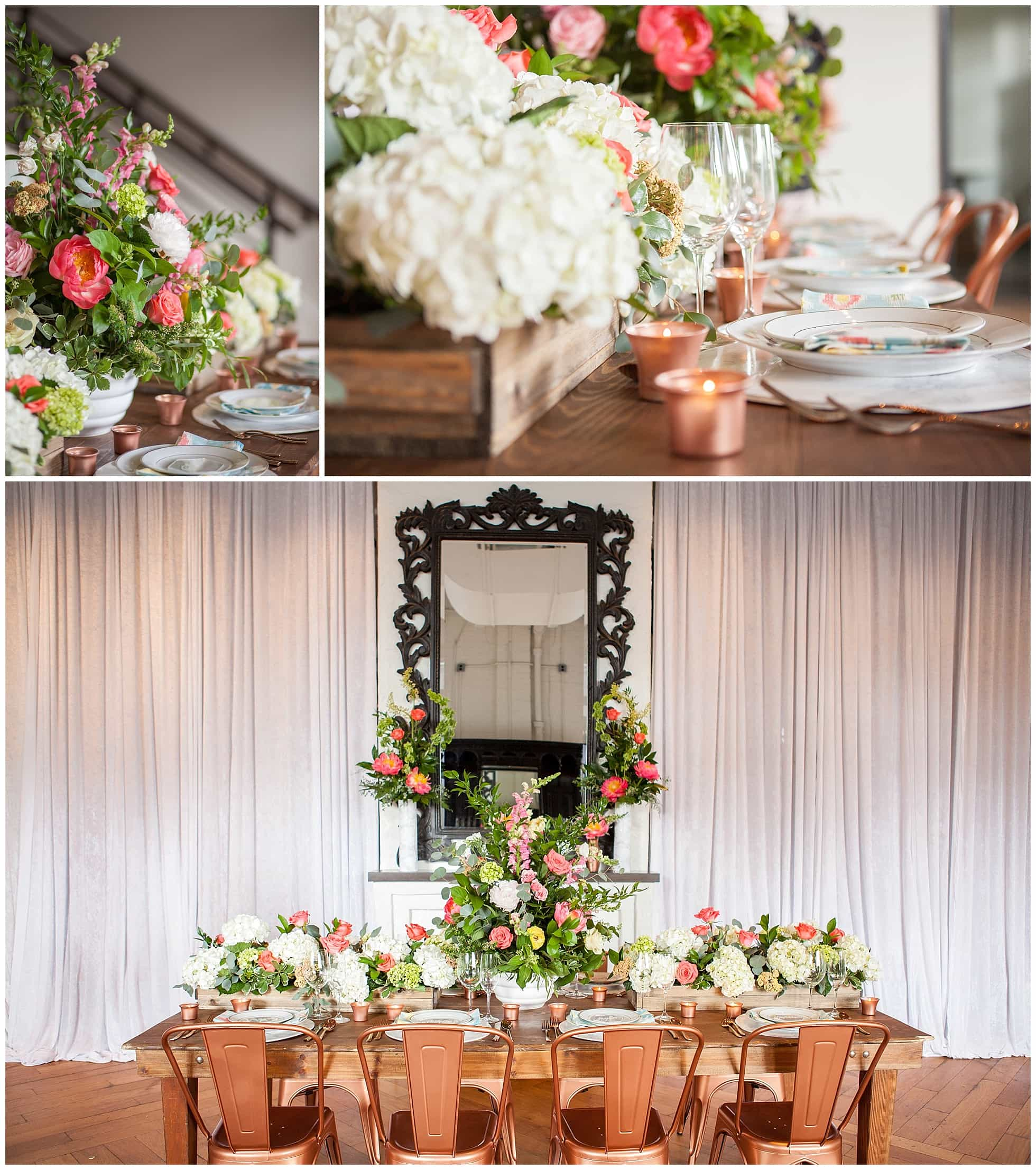 Peach And Pink Wedding Colors With Fabulous Copper Chairs Candles Unique Rustic Table Decor