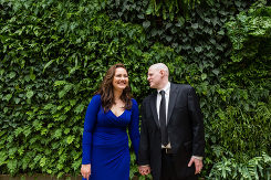 Engagement Session in from of Longwood Garden's Greenery walls near the most beautiful public restrooms in America