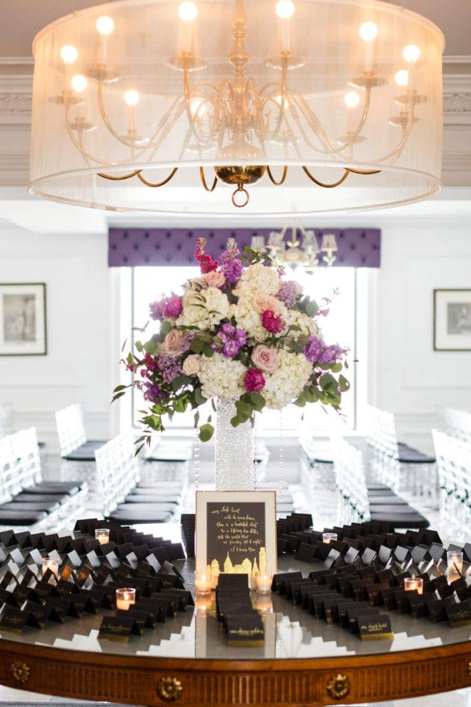 place cards at the downtown club philadelphia wedding