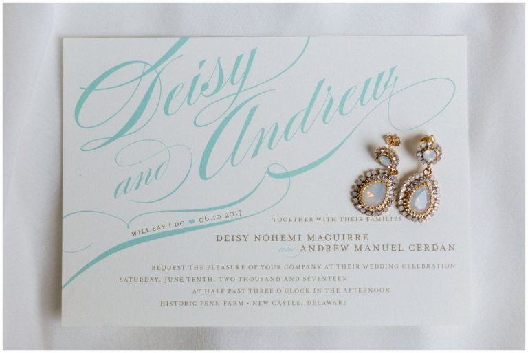 Pearlescent Drop Earrings on a Turquoise & White Wedding Invitation for a Historic Penn Farm wedding
