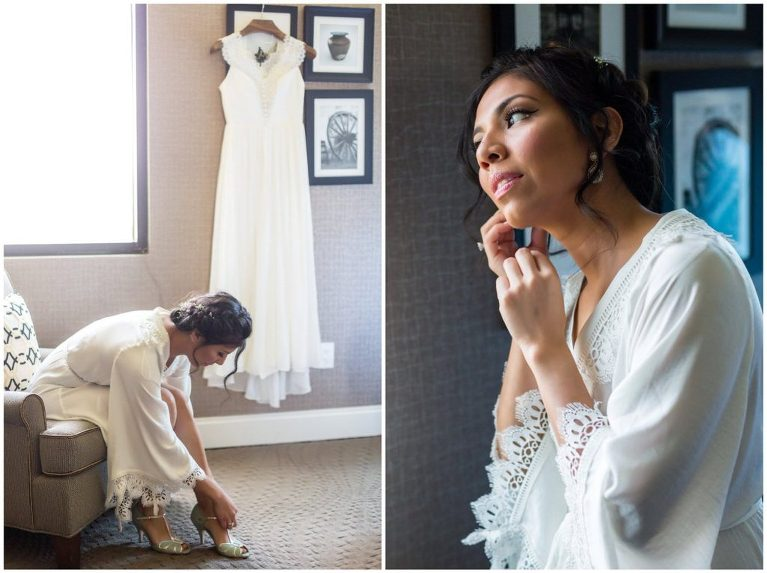 Deisy wore turquoise earrings and shoes from BHLDN along with her wedding gown for her Historic Penn Farm wedding.