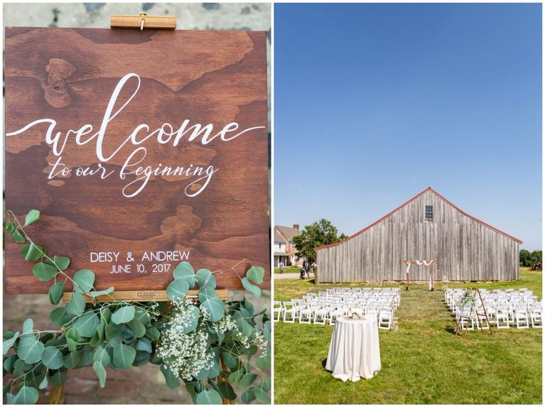Hand-lettered signage and eucalyptus greens decorated the wedding ceremony entrance at this Historic Penn Farm wedding.