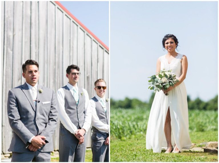 A teary-eyed groom as his bride approaches during their wedding ceremony at Historic Penn Farm.