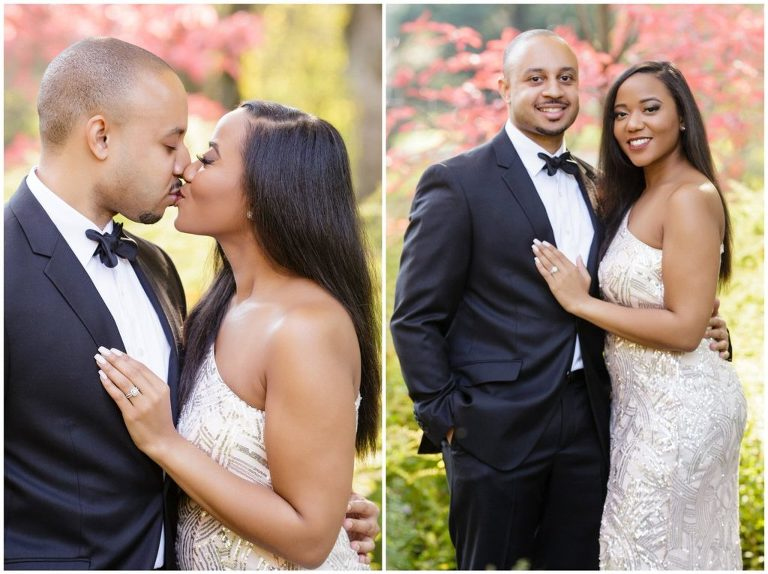 For their Longwood Gardens engagement session, Alexandra & Joey selected formal attire, including a blush full-length evening gown and black-tie tuxedo.