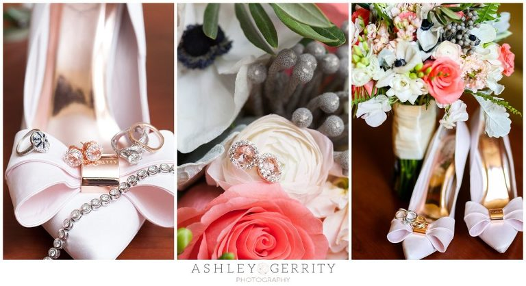 Pink and Gold bridal details | Wedding shoes | Wedding Jewelry