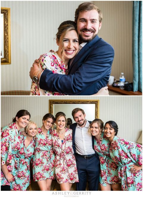 Floral Robes for Bridesmaids during wedding prep at the Radnor Hotel in Wayne, PA