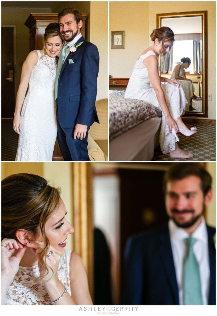 bride putting on final wedding details with man of honor