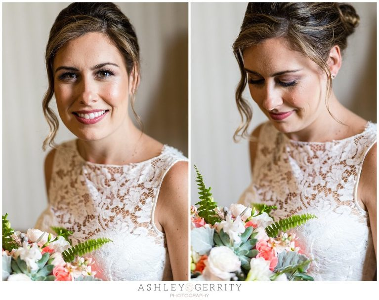 Classic Window-lit bridal portraits with Pink & White Bouquet