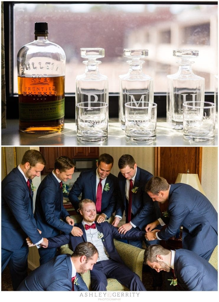 Monogrammed scotch glasses for groomsmen gifts