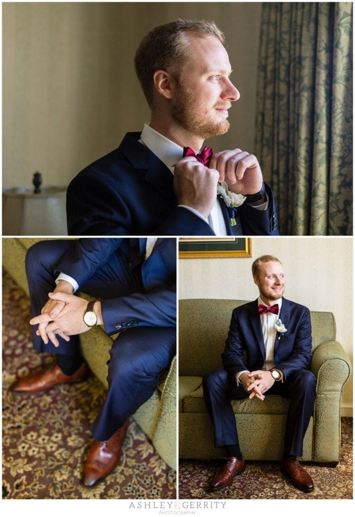 Groom Straitening Bowtie. Classic, natural light groom portraits at Radnor Hotel in Wayne, PA