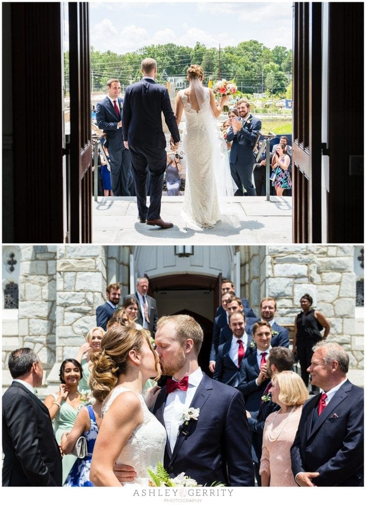Bride & Groom make a grand exit from their wedding mass at Villanova Chapel