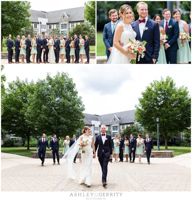 Bride & Groom posing & walking with their wedding party in the quad at Villanova University.