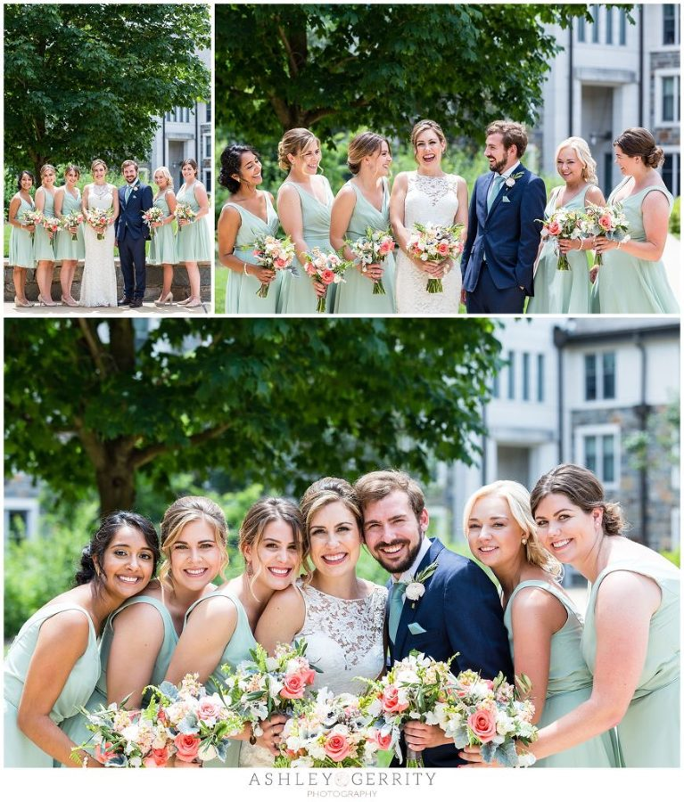 Bride with her man of honor and bridesmaids on the quad at Villanova University