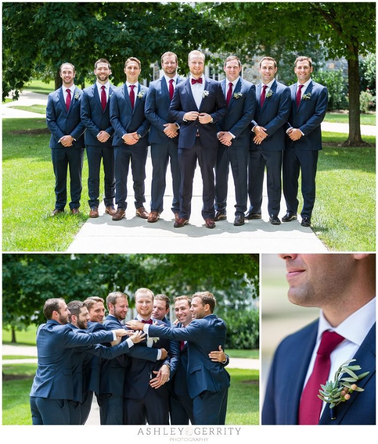 Groom and groomsmen posing for wedding party portraits at Villanova University