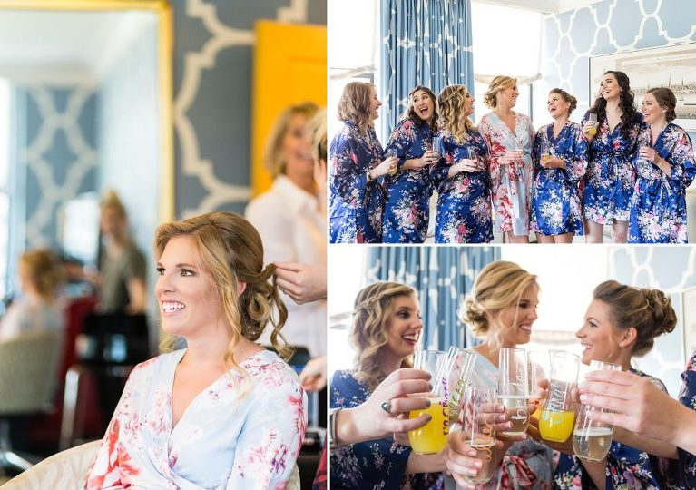 Bridesmaids in Floral robes, Personalized champagne flutes