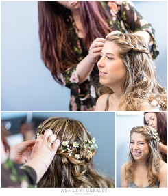 Daisies in braids bridal hair inspiration Getting Ready at Temple Sinai