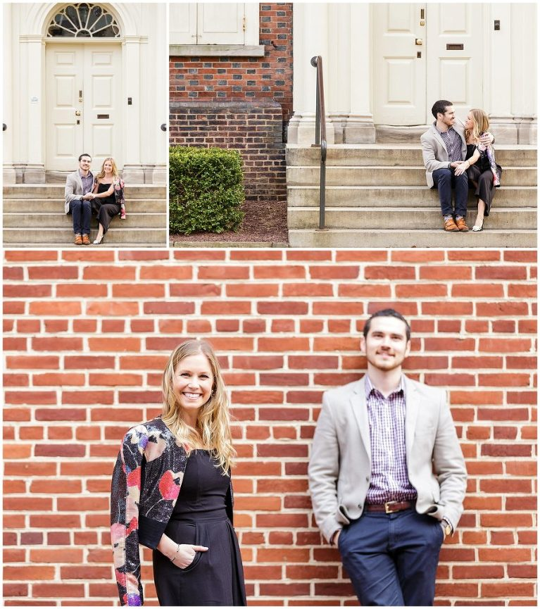 Bride and groom to be pose in Olde City Philadelphia during their engagement session