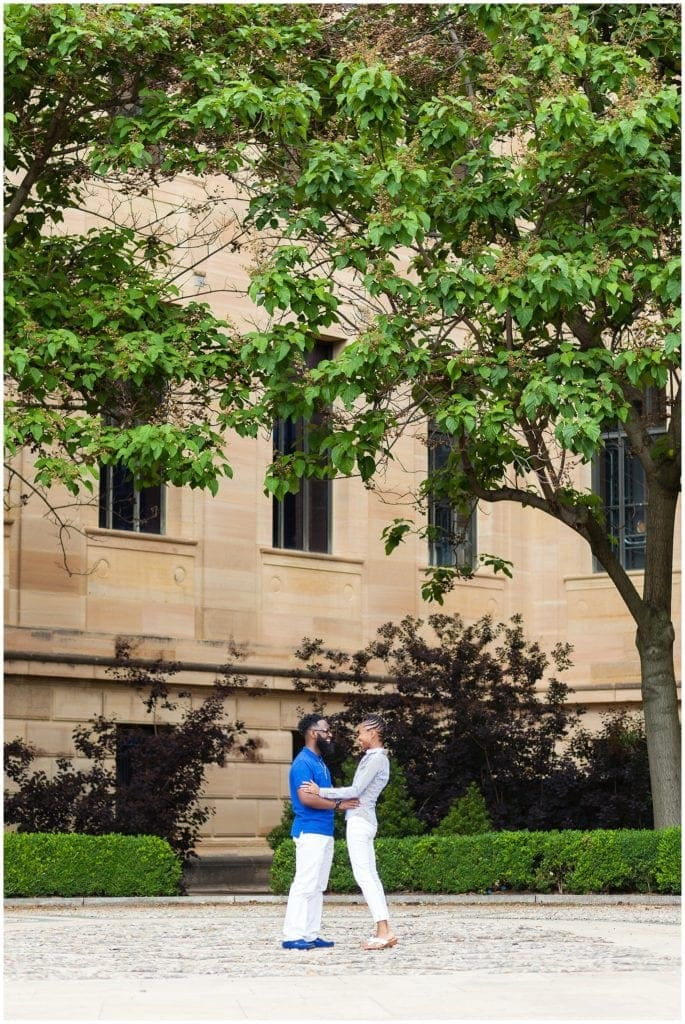 Epic scene at the Philadelphia Museum of Art | royal blue engagement outfit