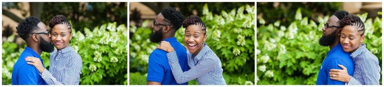 Royal blue engagement session, candid poses, big smiles