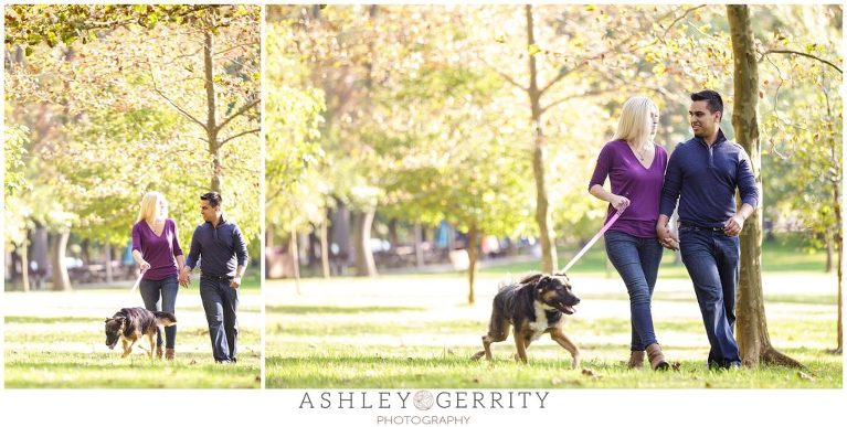 Save the dates, engagement inspiration, engagement with puppy, autumn engagement