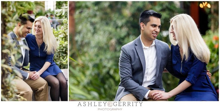 botanical gardens, engagement, engaged, engagement outfit inspiration, posing inspiration, romantic engagement session