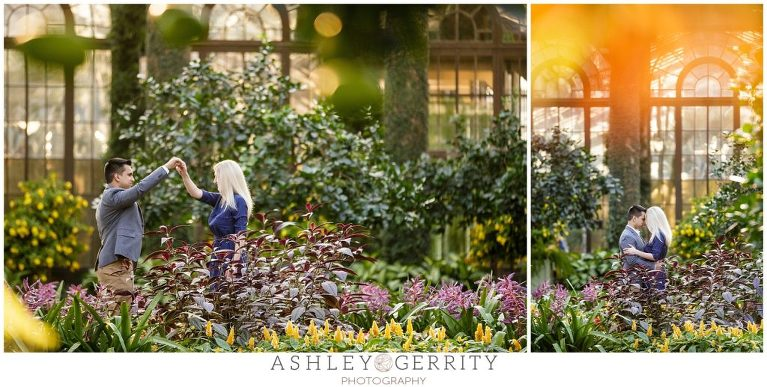 Dancing, engagement, engagement outfit inspiration, posing inspiration, longwood gardens, botanical gardens