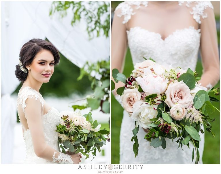 Lace, Illusion wedding dress with lush wedding bouquet by Tulips and Twine