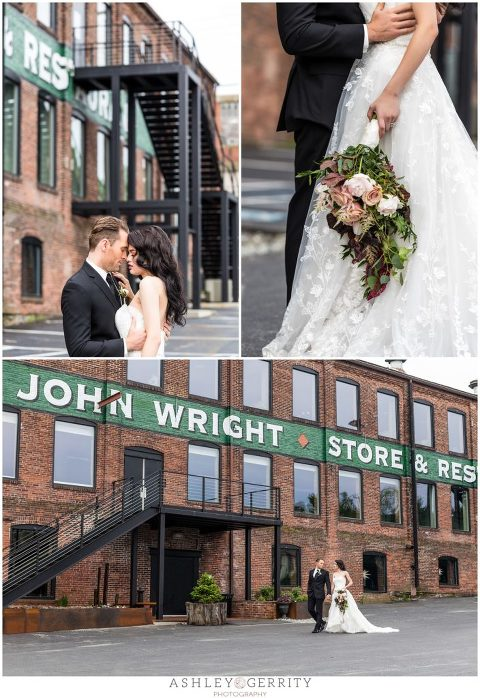 Bride & Groom outside of John Wright Restaurant for Dream Weddings Magazine