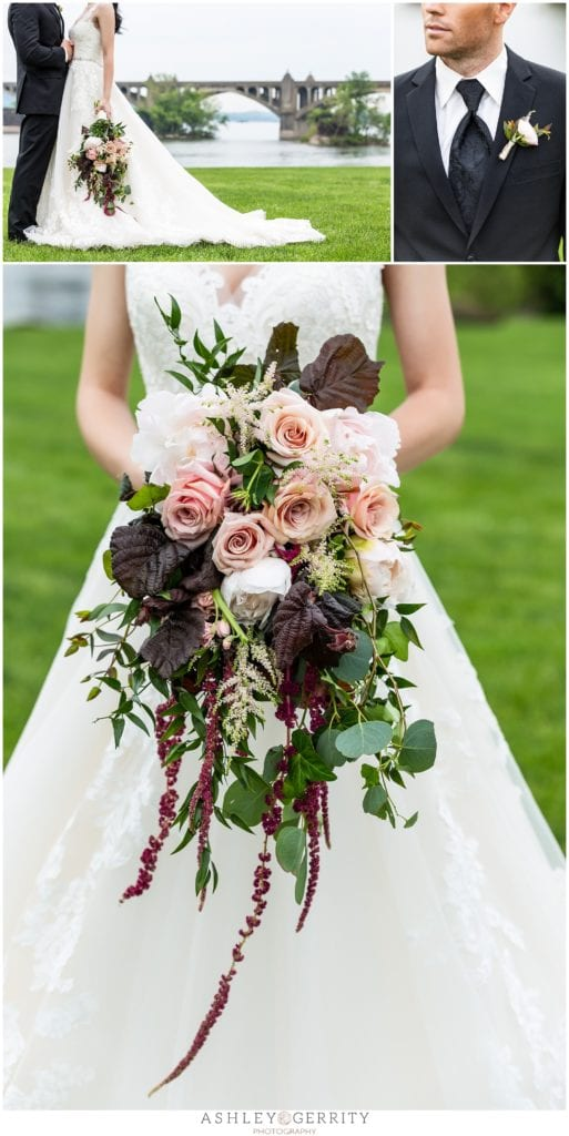 Cascading Burgundy, ballet slipper, and greenerywedding bouquet inspiration by Tulips and Twine.