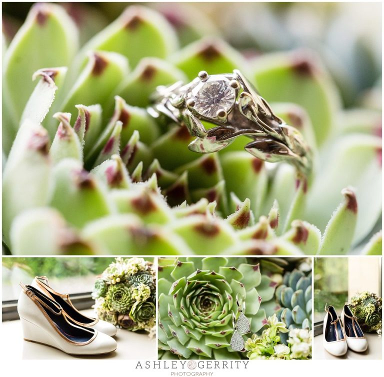 Wedding Rings, Engagement Ring, succulents, succulent bouquet, bouquet, wedding shoes, bridal details
