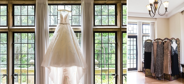 hanging wedding dress, wedding details, sophia tolli wedding dress