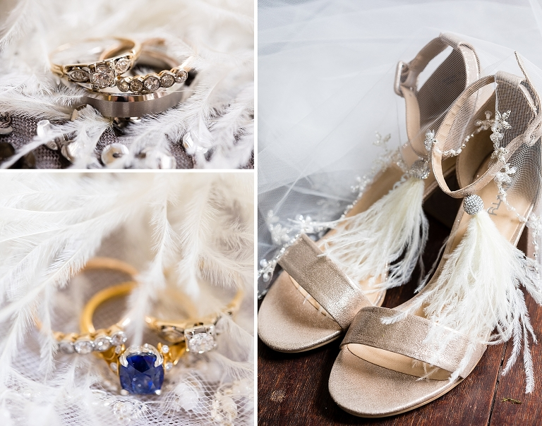 wedding shoes, wedding rings, bridal details,