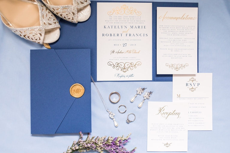 wedding invitations, wedding stationary, wedding rings, wedding accessories, blue and gold stationary