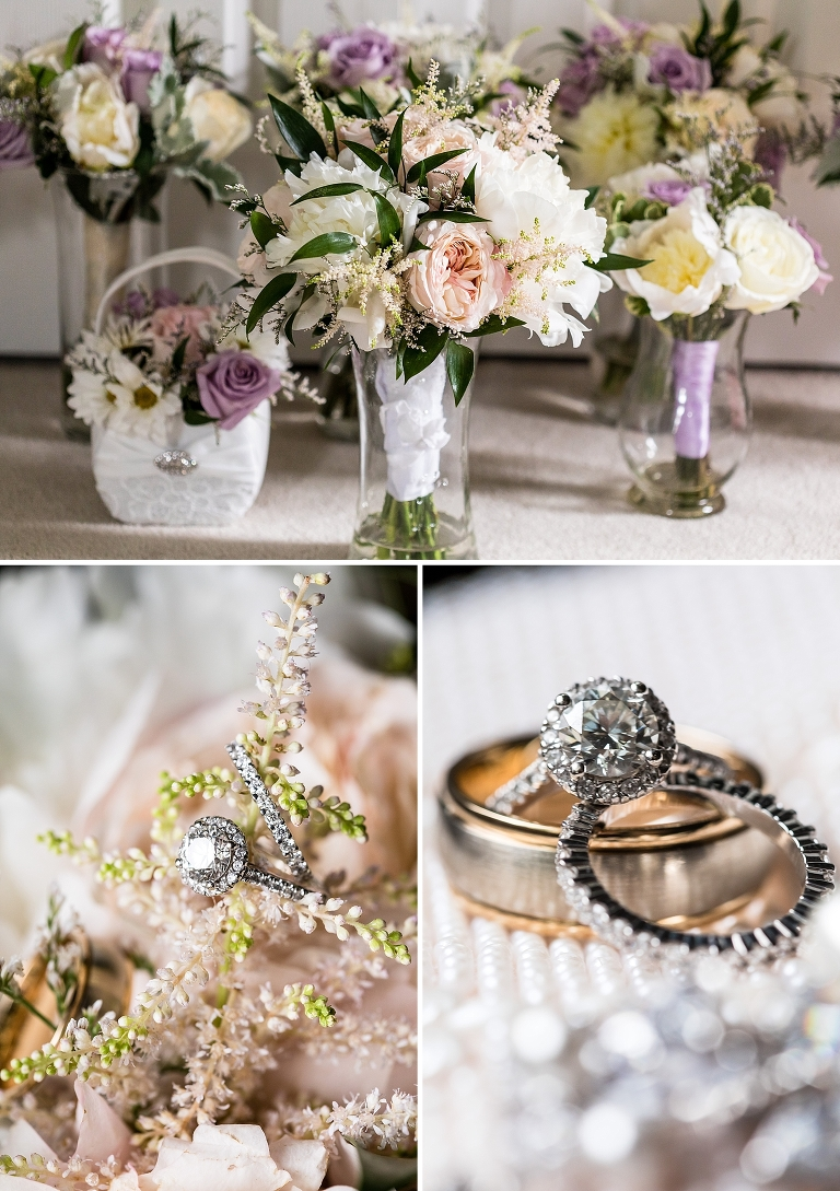 Bridal bouquet, wedding rings, engagement ring, pink wedding bouquet