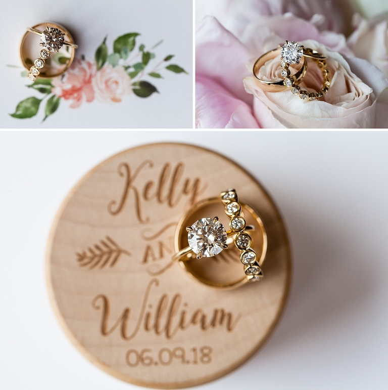 wedding rings, engagement ring, gold rings, flowers