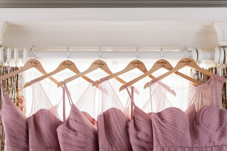 Bridesmaids dresses, blush bridesmaid dresses, bridesmaids hangers with name and date