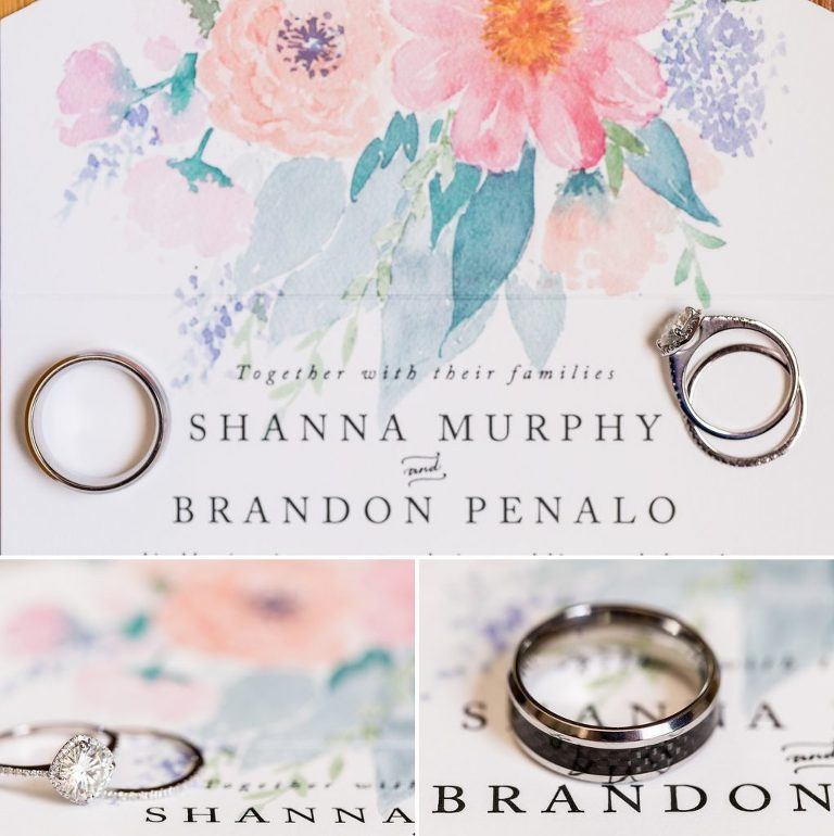 watercolor wedding invitation, wedding rings, wedding details, engagement ring