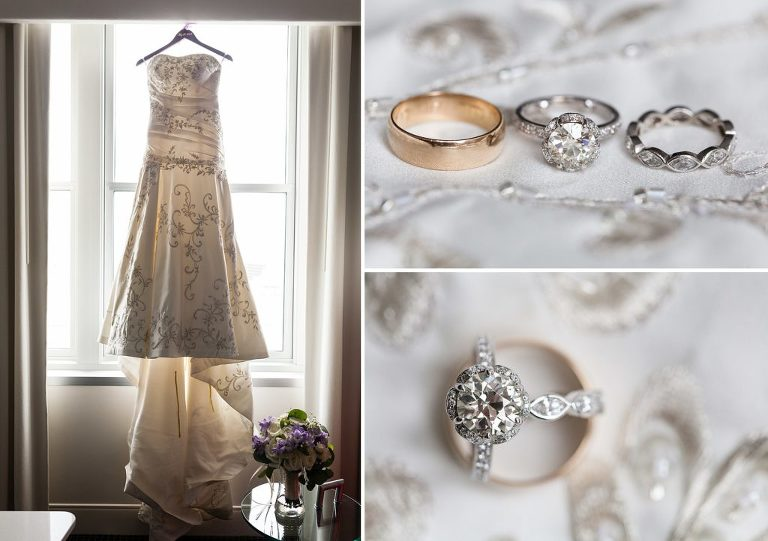 bride's wedding dress, wedding rings, detail photos, loews hotel