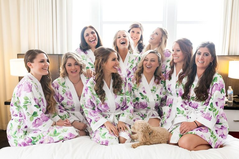 bridesmaids photo, matching robes, floral bridesmaids robes, dog in wedding, bridesmaids with the bride, getting ready