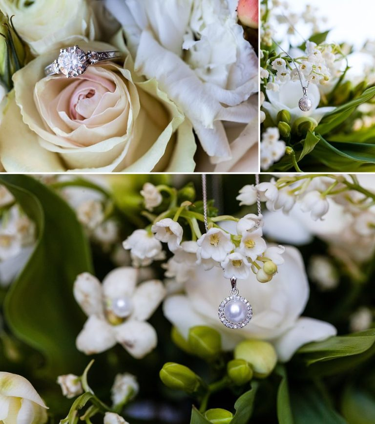 diamond engagement ring, pearl necklace, bridal bouquet, white bouquet, pearl earrings