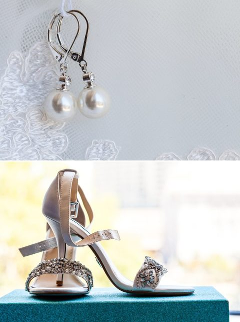 pearl earrings, bridal shoes, bridal details, bejewelled shoes, betsey Johnson