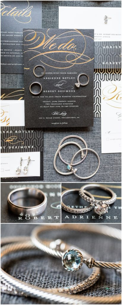 Collage of details from bridal prep at the Cambria Hotel, with grey and gold invitation suite wedding bands, and bride's jewelery