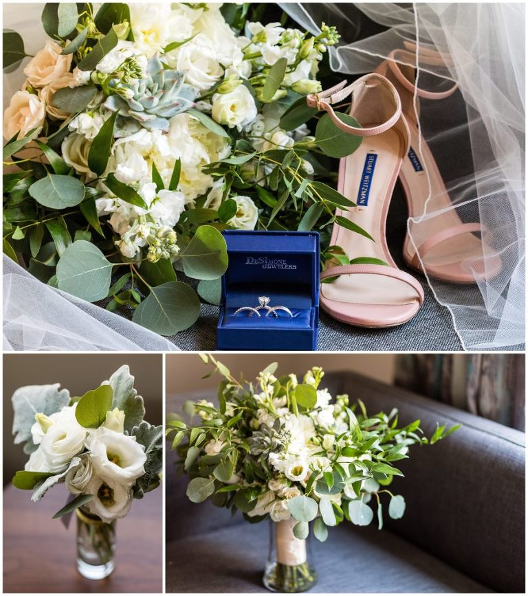Rings from DeSimone Jewelers in ring box, brides pink shoes, and white flower and greens bouquet at the Cambria Hotel