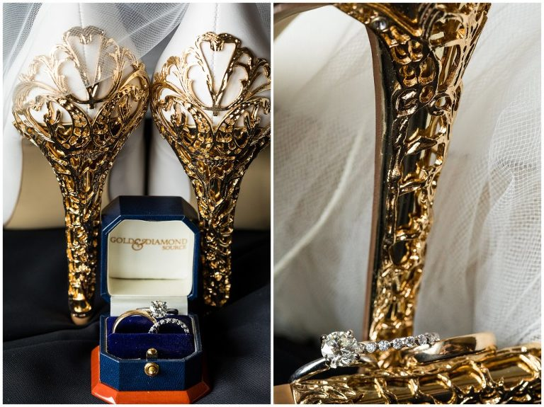 Details of brides gold heels and engagement ring with wedding bands