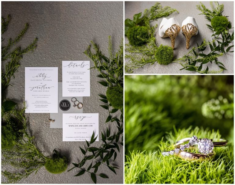 Wedding details with invitation suite, greenery, wedding rings, and heels