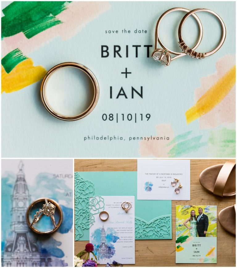 Colorful wedding invitation suite with wedding rings and jewelry details