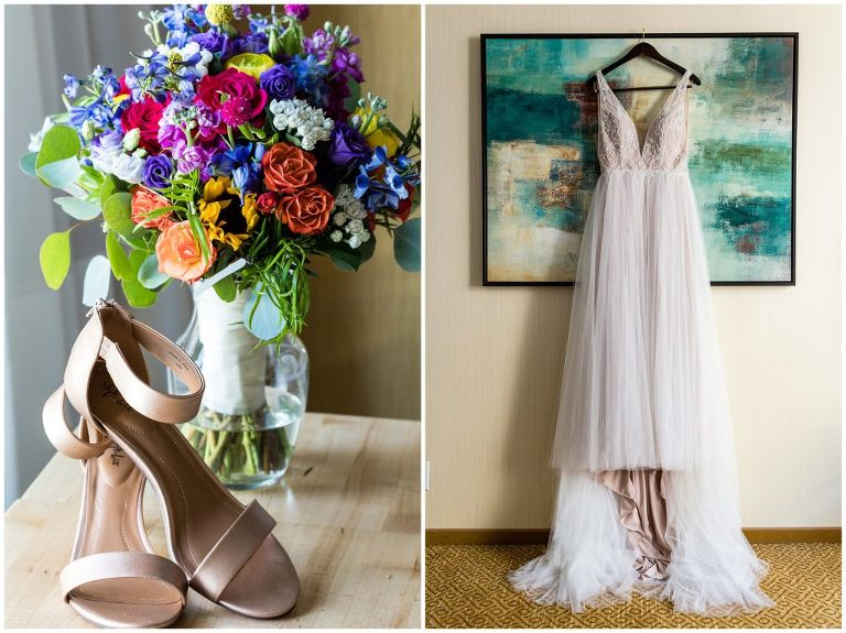 Colorful bridal bouquet, bridal heels, and wedding gown