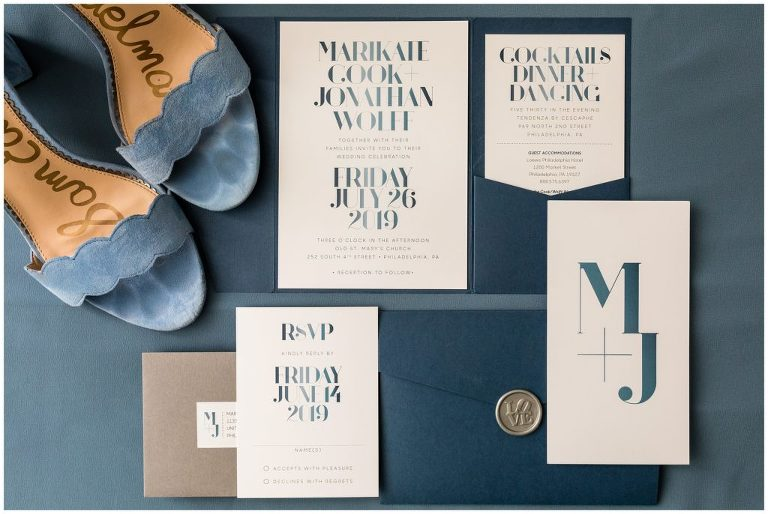 "Blue wedding invitation suite with traditional Philadelphia ""LOVE"" stamp and blue wedding heels for Tendenza Wedding"
